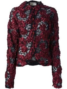 Krizia Pre-Owned куртка с кружевной цветочной аппликацией