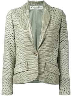 Christian Dior пиджак c эффектом змеиной кожи и перфорацией