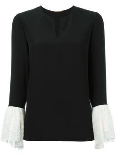 Saint Laurent блузка с контрастными манжетами
