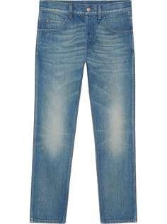 Gucci зауженные джинсы с вышивкой тигра