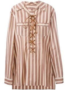 Romeo Gigli Pre-Owned полосатая рубашка-туника со шнуровкой