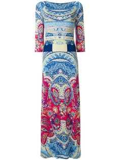 Etro платье-макси с миксом принтов