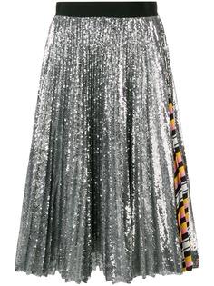 MSGM плиссированная юбка с металлическим отблеском