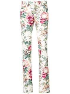Junya Watanabe джинсы скинни с цветочным принтом