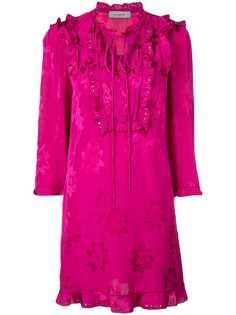 Coach платье с оборкой и цветочным принтом