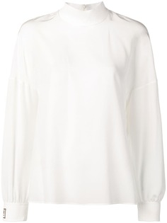 Fendi блузка с высоким воротом и логотипами на манжетах