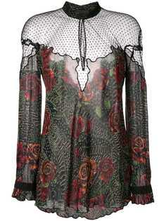 Just Cavalli прозрачная блузка с цветочным принтом