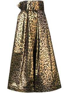 Sara Battaglia юбка с леопардовым принтом