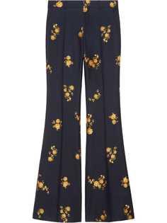 Gucci брюки из ткани филькупе с цветочным узором