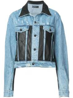 AMIRI джинсовая куртка со вставками из искусственной кожи