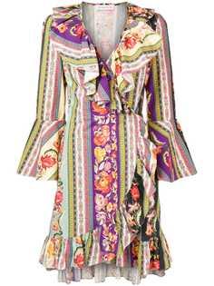 Etro платье с запахом и миксом принтов