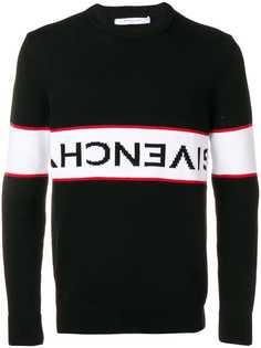 Givenchy джемпер с контрастной полоской и перевернутым логотипом
