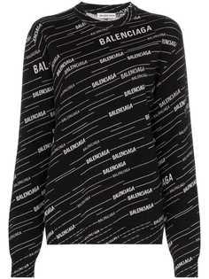 Balenciaga джемпер с логотипом вязки интарсия