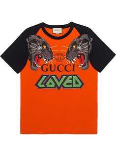 Gucci футболка в стиле оверсайз с принтом тигров