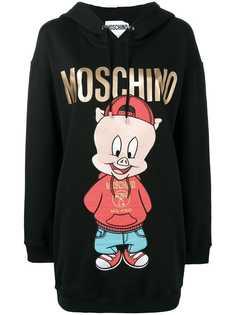 Moschino платье-толстовка с капюшоном и принтом логотипа
