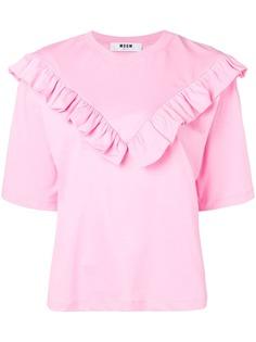 MSGM футболка с отделкой спереди