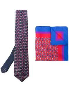 Etro набор из галстука и нагрудного платка с принтом черепах