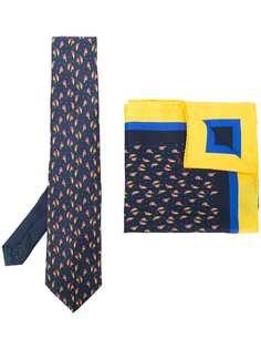Etro набор из галстука и нагрудного платка с принтом птиц
