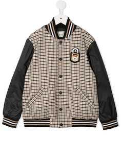 Fendi Kids клетчатая куртка-бомбер