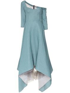 Natasha Zinko асимметричное платье макси в клетку гингем с бюстье