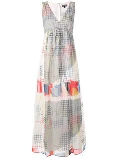 Emporio Armani платье с V-образным вырезом и геометрическим принтом