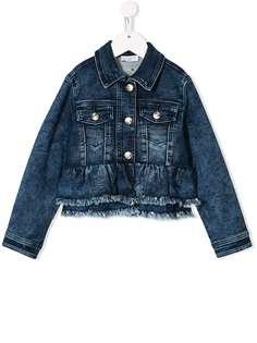 Monnalisa джинсовая куртка с вышивкой