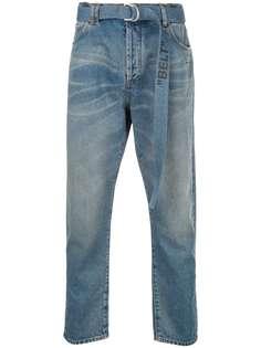 Off-White выбеленные джинсы с поясом