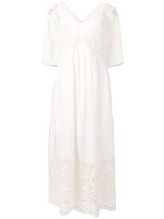 Stella McCartney платье макси с вышивкой ришелье