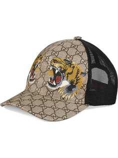 Gucci бейсбольная кепка GG Supreme с принтом тигров