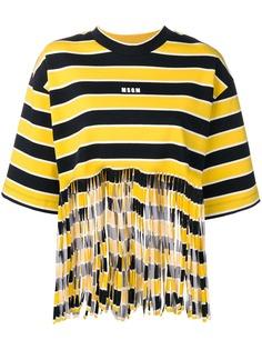 MSGM футболка в полоску с бахромой