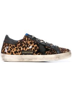 Golden Goose кроссовки с леопардовым принтом и эффектом потертости