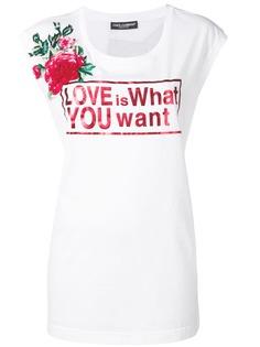 Dolce & Gabbana удлиненная футболка с принтом Love