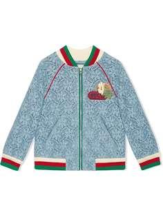 Gucci Kids куртка-бомбер с цветочным кружевом