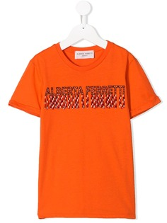 Alberta Ferretti Kids футболка с логотипом и бахромой