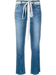 Cambio укороченные джинсы с принтом на поясе