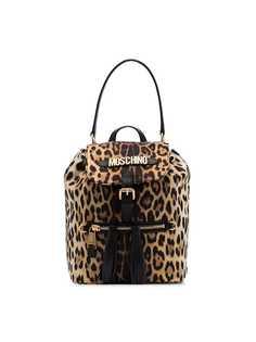 Moschino рюкзак с логотипом и леопардовым принтом