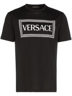 Versace футболка в клетку с логотипом