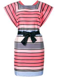 Emporio Armani длинное платье в полоску с поясом