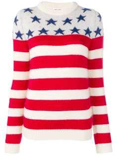Saint Laurent свитер с полосками и звездами