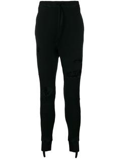 UNRAVEL PROJECT спортивные брюки с эффектом потертости