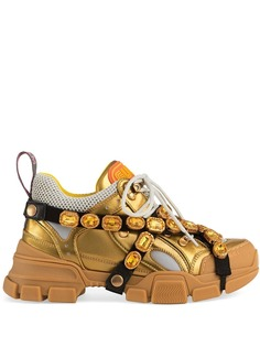 Gucci кожаные кроссовки Flashtrek с кристаллами