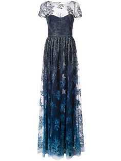 Marchesa Notte полупрозрачное вечернее платье с цветочной вышивкой