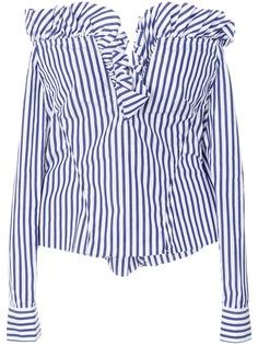 MarquesAlmeida полосатая блузка с оборками и открытыми плечами