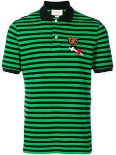Gucci рубашка-поло в полоску с нашивкой
