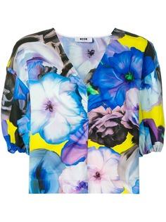 MSGM футболка с цветочным принтом