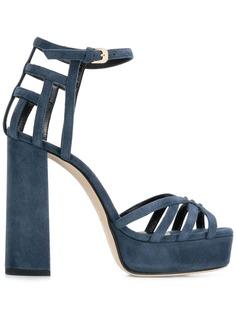 Lanvin босоножки с ремешками на наборном каблуке
