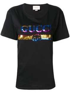 Gucci футболка с логотипом и пайетками