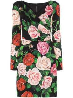 Dolce & Gabbana платье с запахом и цветочным принтом