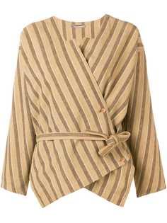 Issey Miyake Pre-Owned полосатая блузка с запахом