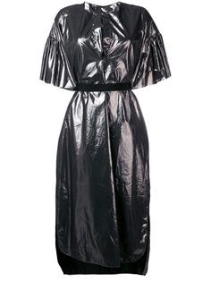 Nude платье-рубашка с эффектом металлик